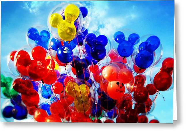 Helium Greeting Cards - High Flying Mickey  - Fine Art by Lynn Bauer Greeting Card by Lynn Bauer