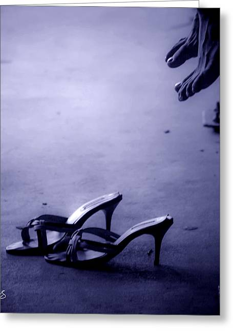 High Heel Shoes Waiting In The Moonlight Greeting Card by Allan Rufus