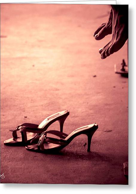 High Heel Shoes Waiting On The Pavement Greeting Card by Allan Rufus