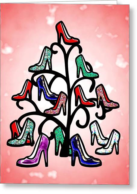 Joke Mixed Media Greeting Cards - High Heels Tree Greeting Card by Anastasiya Malakhova