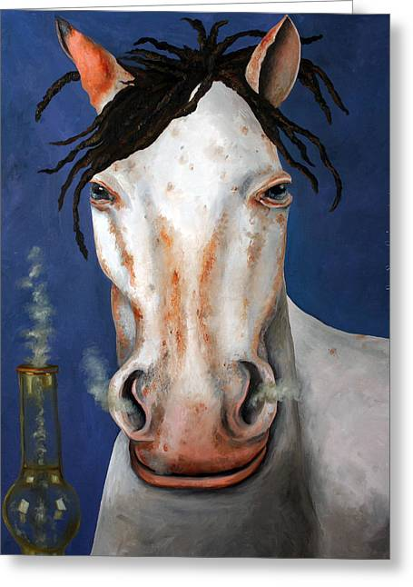 Broncos Paintings Greeting Cards - High Horse edit 2 Greeting Card by Leah Saulnier The Painting Maniac