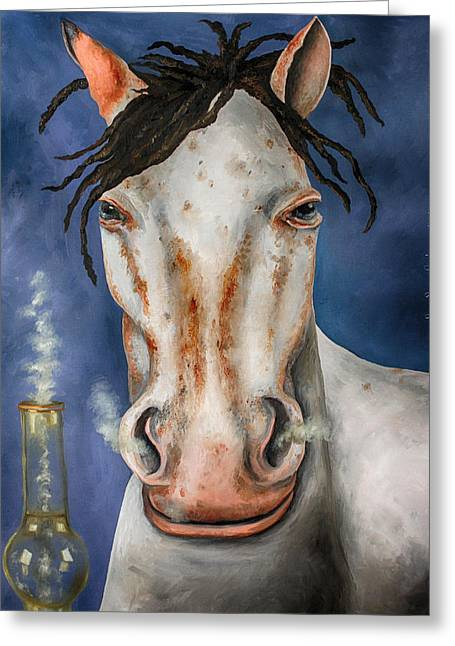 Broncos Paintings Greeting Cards - High Horse edit 3 Greeting Card by Leah Saulnier The Painting Maniac