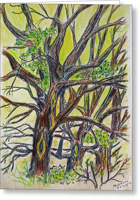 Michael Pastels Greeting Cards - High in the Trees Greeting Card by Michael Anthony Edwards