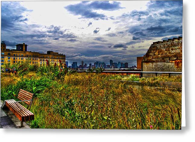 Greenwich Village Greeting Cards - High Line on the Hudson Greeting Card by Randy Aveille