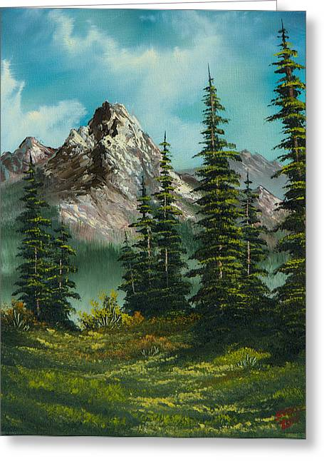 Bob Ross Paintings Greeting Cards - High Meadow Greeting Card by C Steele