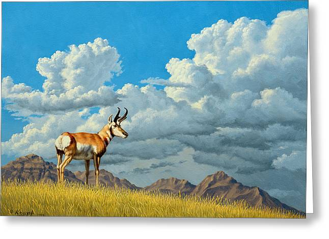 Cloudscapes Greeting Cards - High Meadow - Pronghorn Greeting Card by Paul Krapf