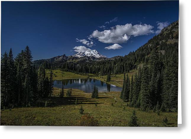 Public Issue Greeting Cards - High Mountain Lake Greeting Card by Mike Sedam