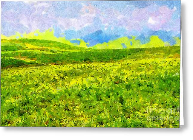 Green Day Greeting Cards - High mountain meadow painting Greeting Card by Magomed Magomedagaev
