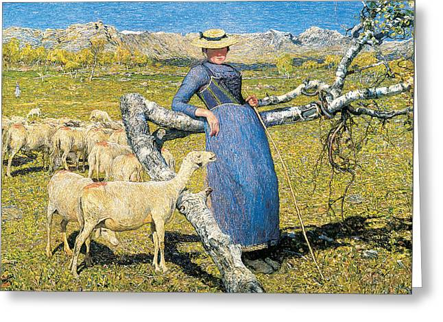 High Noon In The Alps Greeting Card by Giovanni Segantini