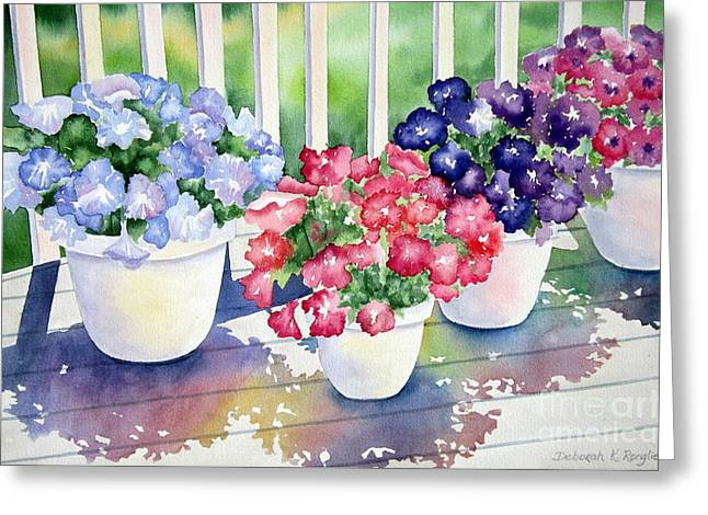 Petunia Greeting Cards - High Noon Petunias Greeting Card by Deborah Ronglien