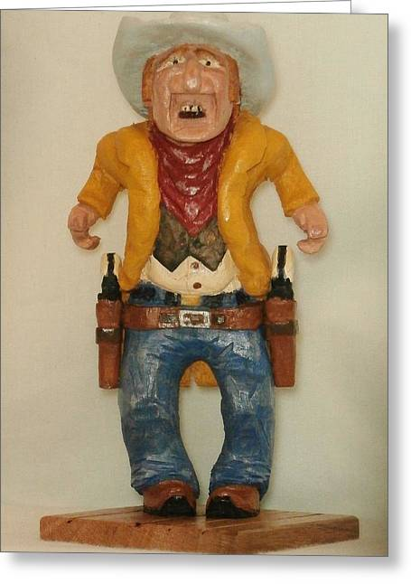 Caricature Carving Sculptures Greeting Cards - High Noon Greeting Card by Russell Ellingsworth