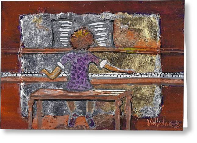 Metallic Sheets Paintings Greeting Cards - High Note Greeting Card by Maria Valladarez