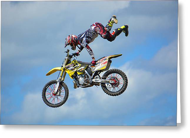 Fmx Greeting Cards - High Octane Ride Greeting Card by Mike Martin