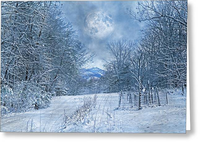 High Peak Mountain Snow Greeting Card by Betsy C Knapp