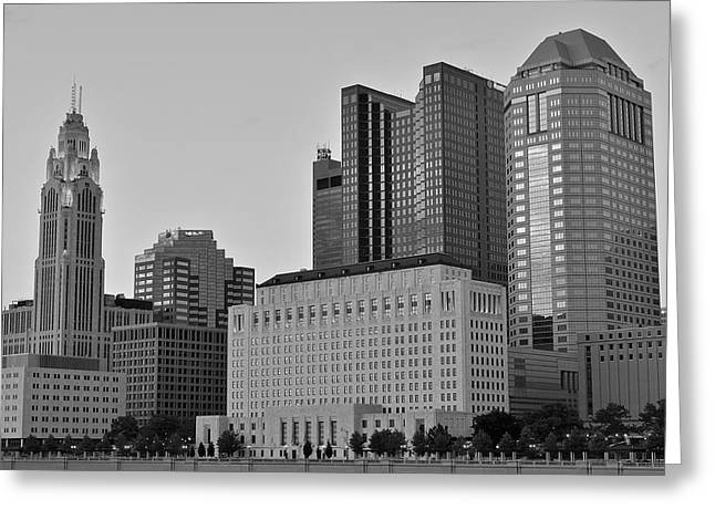 Osu Greeting Cards - Columbus Close Up Black and White Greeting Card by Frozen in Time Fine Art Photography