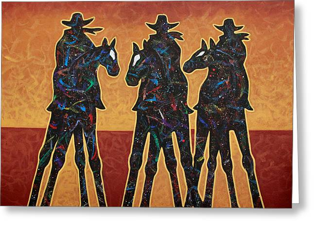 Cowboy Greeting Cards - High Plains Drifters Greeting Card by Lance Headlee