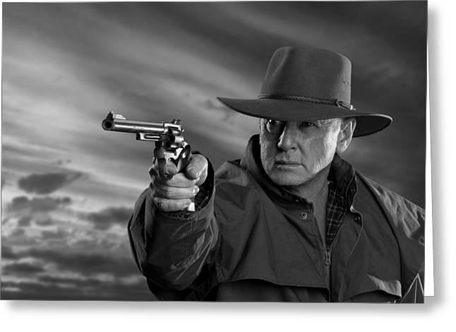 Gunman Greeting Cards - High plains gunman Greeting Card by David Hibberd