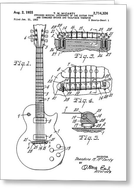 Engineering Greeting Cards - High Resolution Gibson Les Paul Guitar Greeting Card by DC Photographer