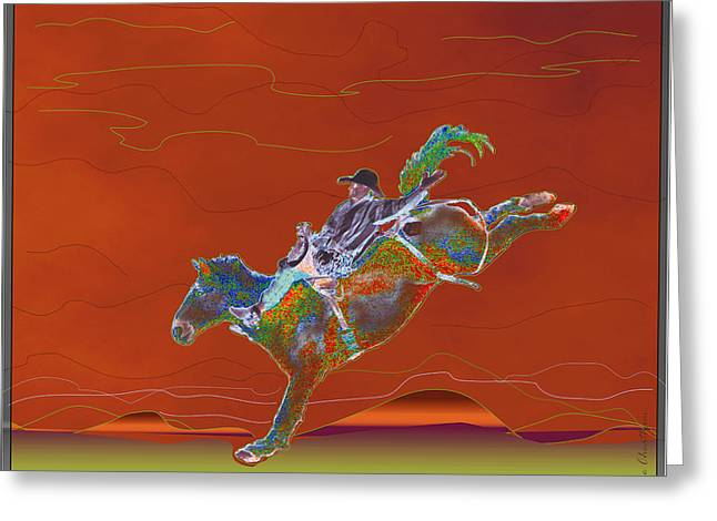 Bronc Greeting Cards - High Riding Greeting Card by Kae Cheatham