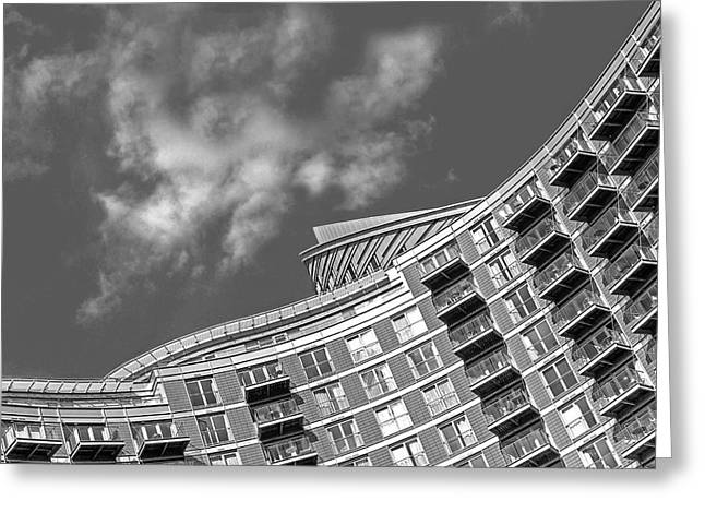 New Britain Greeting Cards - High Rise Living in black and White Greeting Card by Gill Billington