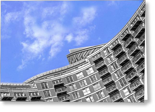 New Britain Greeting Cards - High Rise Living in Grey and Blue Greeting Card by Gill Billington