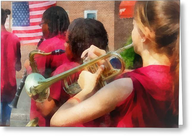 Trumpeters Greeting Cards - High School Band at Parade Greeting Card by Susan Savad