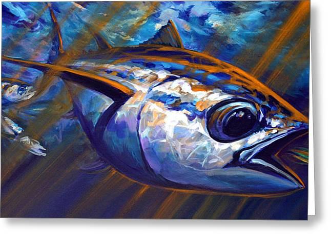 High Seas Albacore Tuna Fish Art Greeting Card by Savlen Art