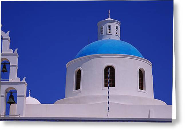 Oia Greeting Cards - High Section View Of A Church, Oia Greeting Card by Panoramic Images