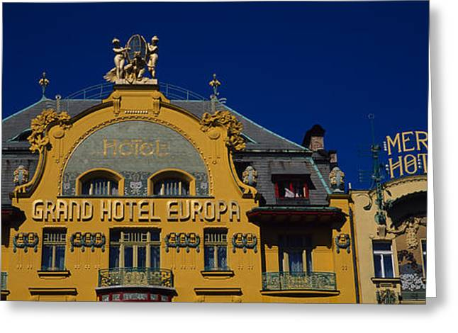 Grand Hotel Greeting Cards - High Section View Of A Hotel, Grand Greeting Card by Panoramic Images
