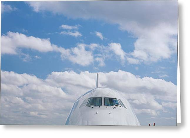 747 Greeting Cards - High Section View Of An Airplane Greeting Card by Panoramic Images