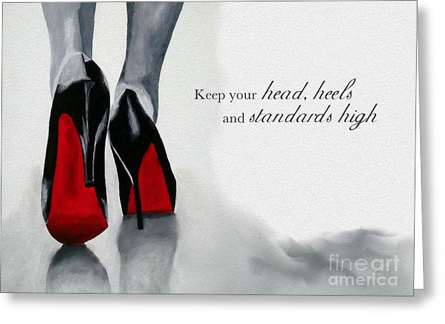 Original Art Greeting Cards - High Standards Greeting Card by Rebecca Jenkins