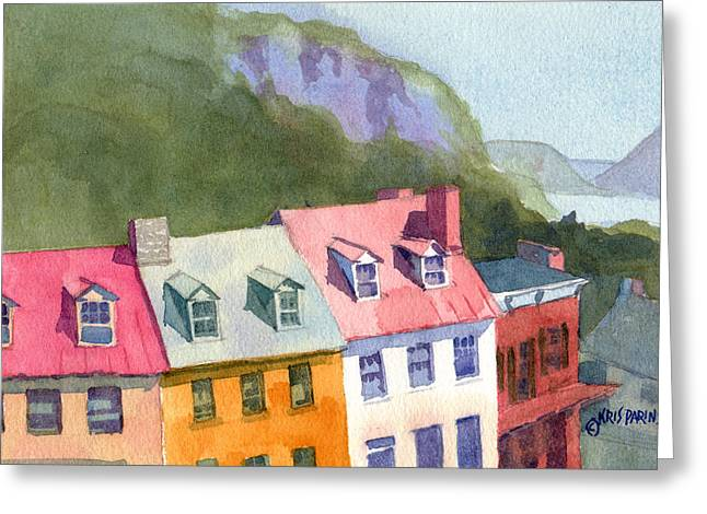 Harpers Ferry Paintings Greeting Cards - High Street Greeting Card by Kris Parins