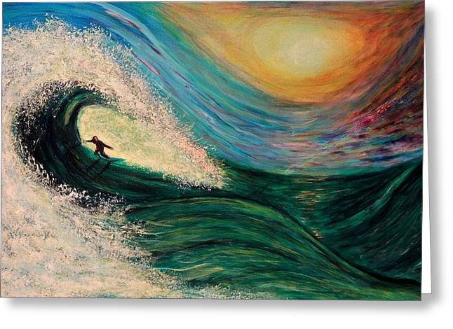 Santa Cruz Ca Paintings Greeting Cards - High Surf Greeting Card by Phoenix The Moody Artist