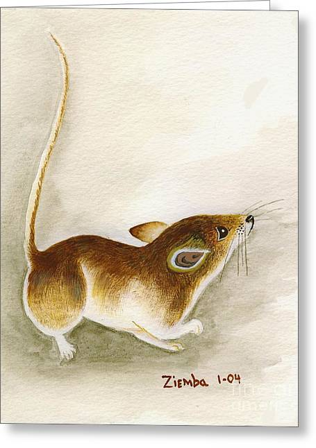Lori Ziemba Greeting Cards - High Tail Mouse Greeting Card by Lori Ziemba