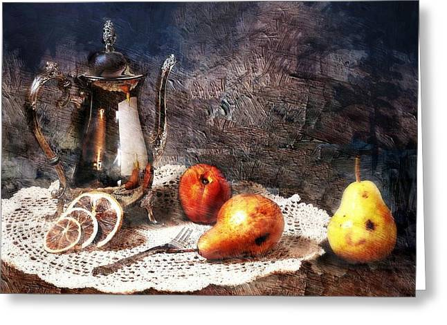 Still Life With Pears Greeting Cards - High Tea Greeting Card by Diana Angstadt