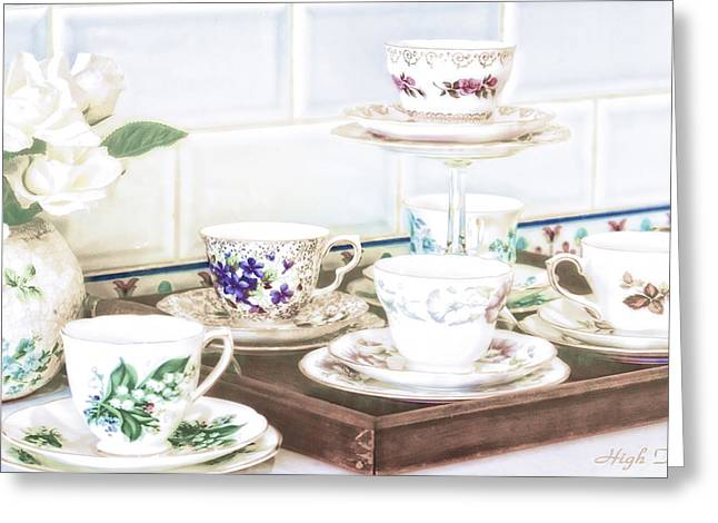 English Greeting Cards - High Tea Greeting Card by Holly Kempe