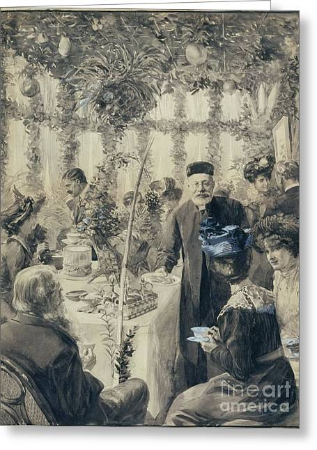 Orthodox Rabbi Greeting Cards - High Tea in the Sukkah Greeting Card by Celestial Images