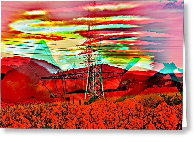 Tension Mixed Media Greeting Cards - High Tension Greeting Card by Klaas Hartz