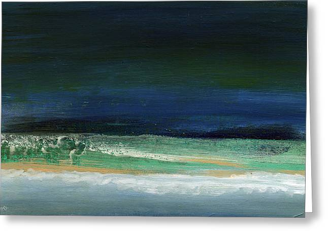 Beachscape Greeting Cards - High Tide- Abstract Beachscape Painting Greeting Card by Linda Woods