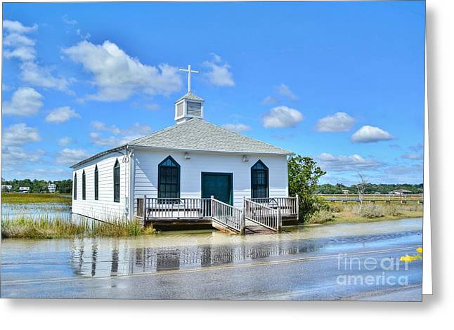 High Tide At Pawleys Island Church Greeting Card by Kathy Baccari