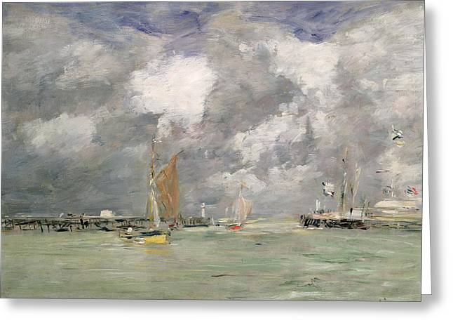 Blue Sailboat Greeting Cards - High Tide at Trouville Greeting Card by Eugene Louis Boudin
