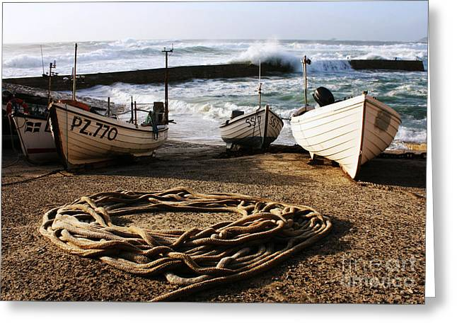 Sennen Greeting Cards - High Tide in Sennen Cove Cornwall Greeting Card by Terri  Waters