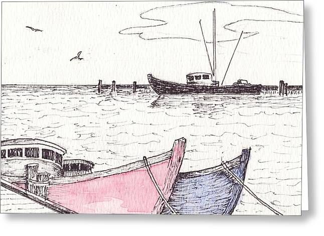 New England Ocean Drawings Greeting Cards - High Tide Greeting Card by Robert Parsons