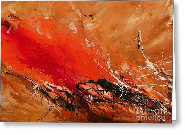 Warm Tones Greeting Cards - High Time - Abstract Art Greeting Card by Ismeta Gruenwald
