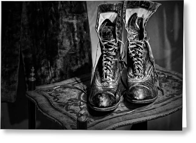 High Top Greeting Cards - High Top Shoes - bw Greeting Card by Nikolyn McDonald