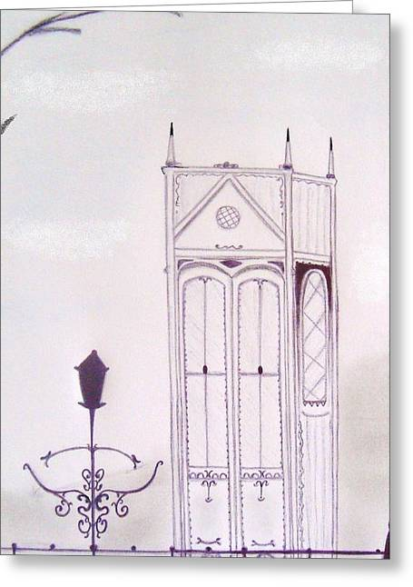 Iron Pastels Greeting Cards - High Tower in Winter Greeting Card by Christine Corretti
