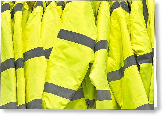 Zipper Greeting Cards - High visibility jackets Greeting Card by Tom Gowanlock