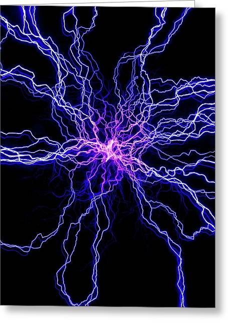 High Voltage Discharge Greeting Card by David Parker