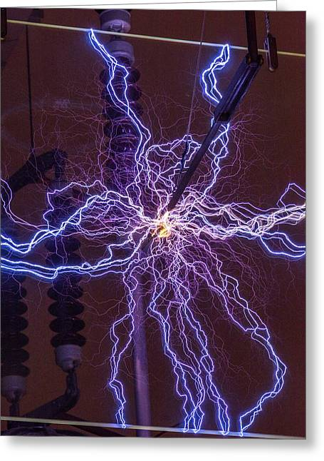 High Voltage Electrical Discharge Greeting Card by David Parker