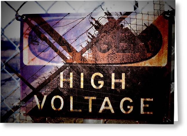 Generators Greeting Cards - High Voltage - photomontage  Greeting Card by Ann Powell